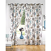 KLiving Floral Riva Teal Lined Eyelet curtains 90x72 Inches