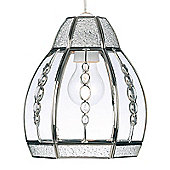 Endon Lighting Pendant in Satin Chrome with Clear Beads