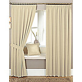 Curtina Marlowe 3 Pencil Pleat Lined Curtains 90x90 inches (228x228cm) - Natural