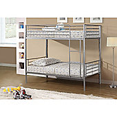 Metal Childrens Bunk Bed Frame 3ft Single - Silver