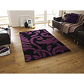 Think Rugs Majesty Black/Purple Shaggy Rug - 120 cm x 170 cm (3 ft 9 in x 5 ft 7 in)