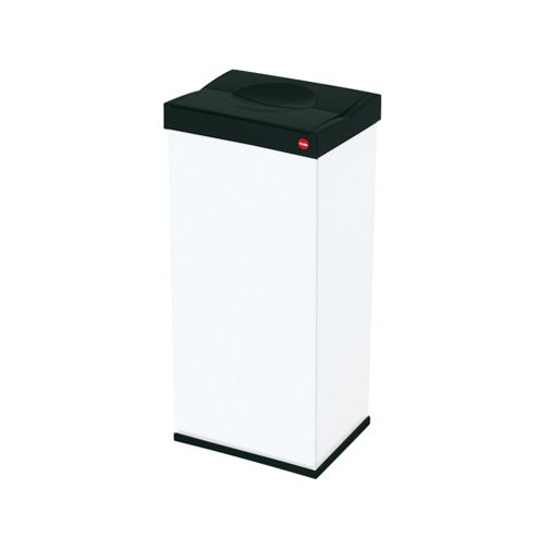 Hailo 60L White Push Down Bin - Self Closing Swing Lid
