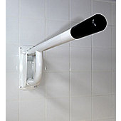 White 760mm Single Arm Drop Down Hinged Rail with Toilet Roll Holder