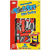 Toyrific Easy Assemble Tool Set 15 Piece Playset With Trolley