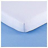 Tesco Loves Baby Cotbed Jersey Fitted sheet 2 pack blue