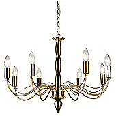 Endon Lighting Charleston Eight Light Chandelier in Antique Brass
