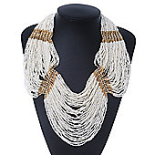 Chunky White & Gold Glass Bead Bib Necklace In Gold Plating - 52cm Length/ 9cm Extension