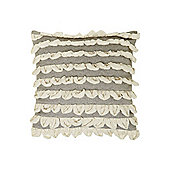 Linea Glitter Ruffle Cushion In Grey