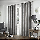 Curtina Harlow Silver Thermal Backed Curtains -90x72 Inches (229x183cm)
