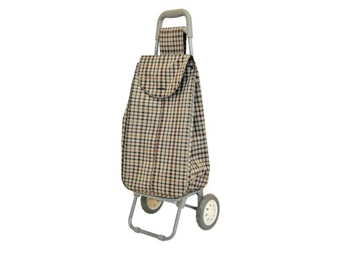 Sabichi Lightweight Shopping Trolley, Beige Check