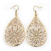Gold Plated Filigree Diamante Teardrop Earrings - 68mm Length