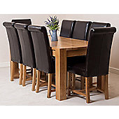 Kuba Chunky Solid Oak 180 cm Dining Table with 8 Brown Washington Leather Chairs