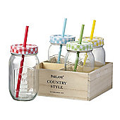 Parlane Set of Four American Style Glass Bottle Drinks Jars with Red, Yellow, Green & Blue Tops & Straws
