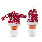 Set of Two Knitted Christmas Hat & Jumper Egg Warmer Cosies