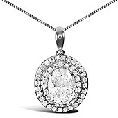 Jewelco London Rhodium Coated Sterling Silver Cubic Zirconia Charm Pendant - 18 inch Chain