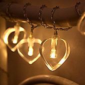 10 Warm White LED Heart Battery Fairy Lights
