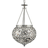 Unique Moroccan Style Pendant Light in Shiny Nickel