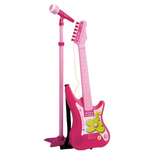 Bontempi iGirl Pink Electric Guitar with Microphone and Stand