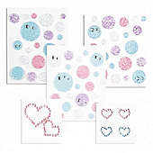 Bubbles And Hearts Glitter Stickers Triple Pack