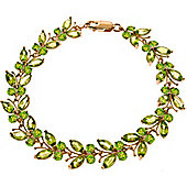 QP Jewellers 8.5in 16.50ct Peridot Butterfly Bracelet in 14K Rose Gold