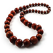 Light Brown Wooden Bead Necklace - 64cm Length