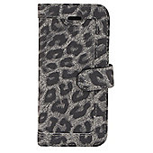 Tortoise™ Look Faux Leather Folio Case, iPhone 5/5S. Snow Leopard design,Black/Grey