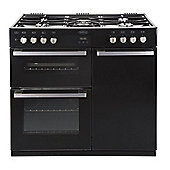 Belling DB490DFT Dual Fuel Range Cooker (with 5 gas hob burners) in Black