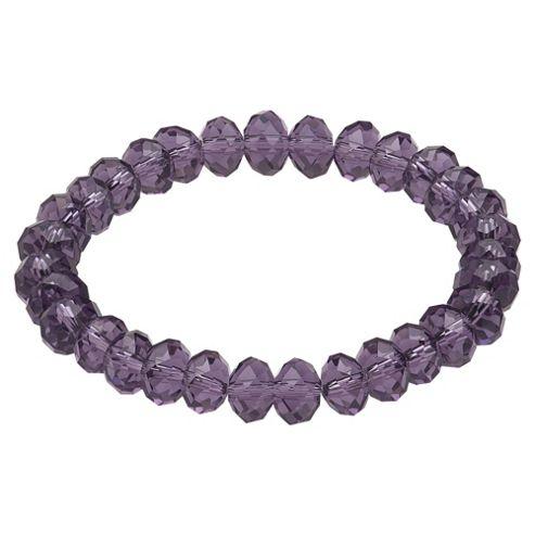 Purple Glass Bead Stretch Bracelet