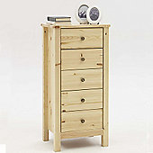 Nature - Solid Wood 5 Drawer Storage Tallboy Cabinet - Natural