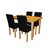 Premier Housewares 5 Piece Dining Set with Light Solid Rubberwood Cozinha - Black
