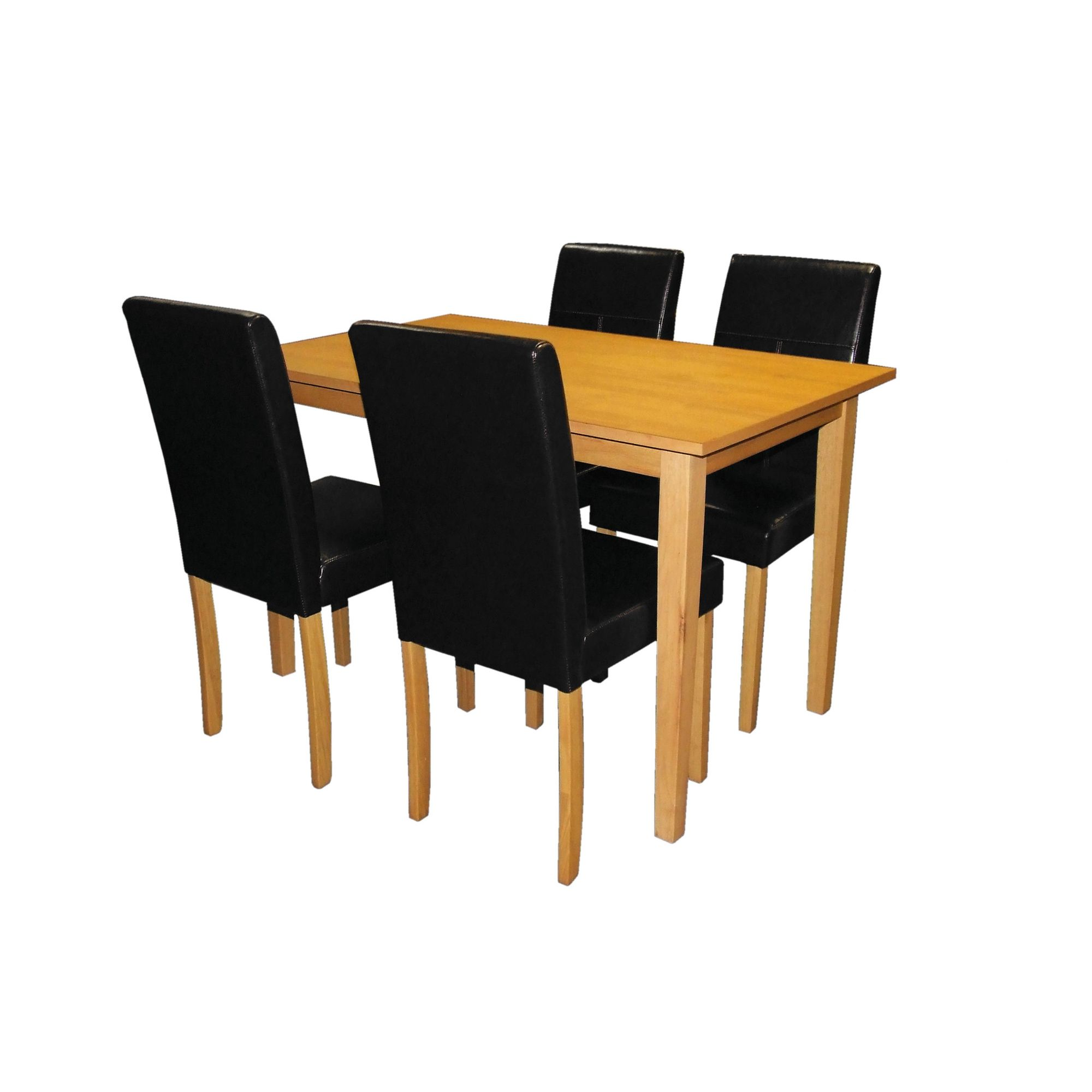 Premier Housewares 5 Piece Dining Set with Light Solid Rubberwood Cozinha - Black at Tescos Direct