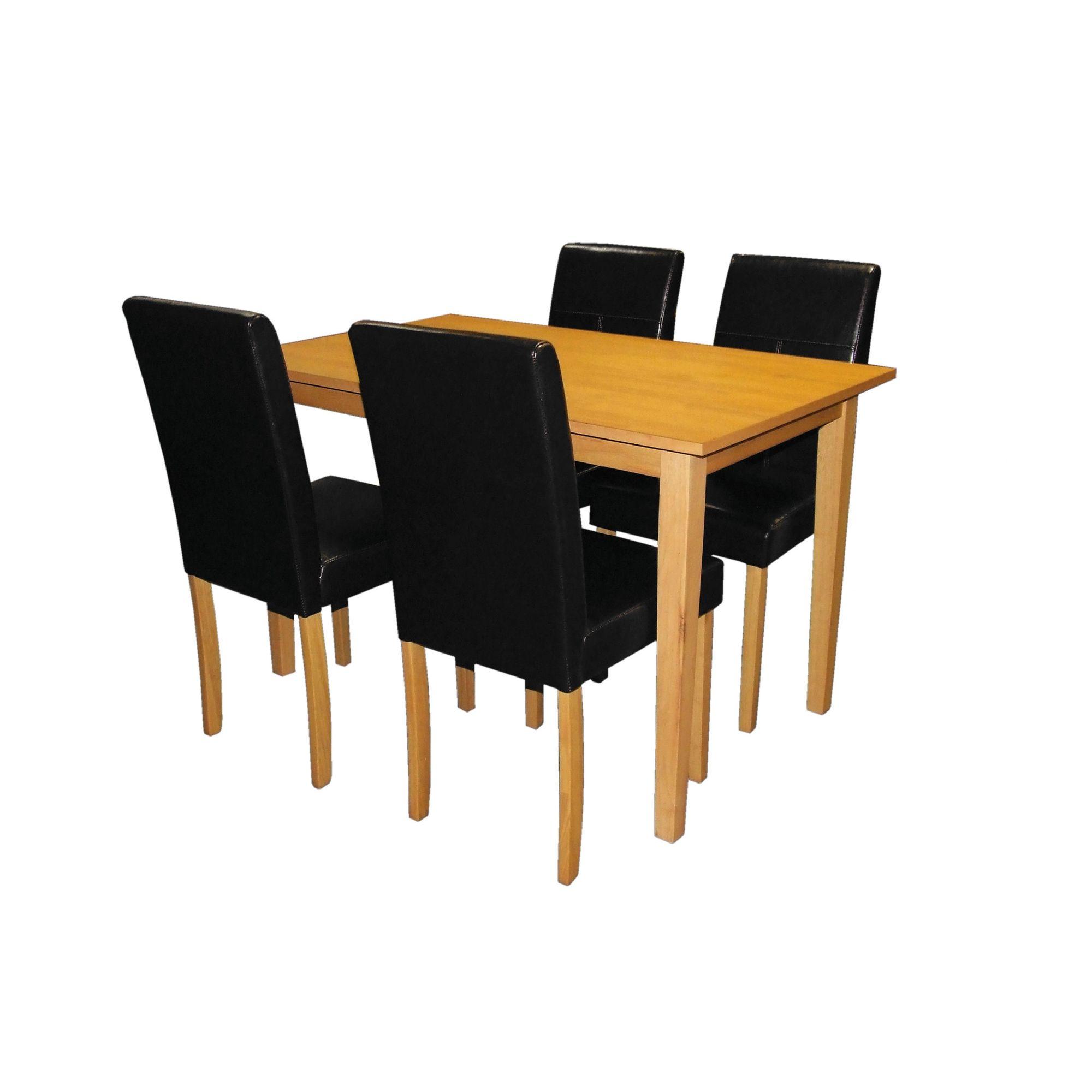 Premier Housewares 5 Piece Dining Set with Light Solid Rubberwood Cozinha - Black at Tesco Direct