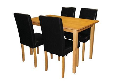 Premier Housewares 5 Piece Dining Set with Light Solid Rubberwood Cozinha - Black
