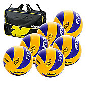 6 Mikasa MVA200 volleyballs and bag