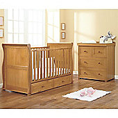 East Coast Langham Sleigh Oak Nursery Furniture 2 Piece/Sprung Mattress