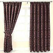 "Homescapes Purple Jacquard Curtain Traditional Paisley Design Fully Lined - 90"" X 90"" Drop"