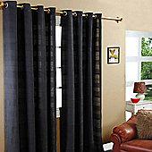 "Homescapes Cotton Rajput Ribbed Black Curtain Pair, 66 x 90"" Drop"