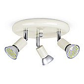 Modern Three Way LED Spotlight in Gloss Cream and Chrome