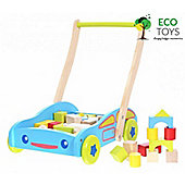 Eco Toys Wooden Walker with Wooden Blocks