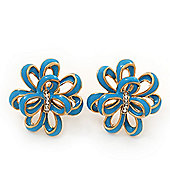 Light Blue Enamel Dimensional Floral Stud Earrings In Gold Plated Metal - 2.5cm in diameter