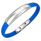 Urban Male Men's Stainless Steel & Blue Rubber ID Bangle