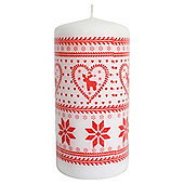 Reindeer Design Pillar Candle Red and White