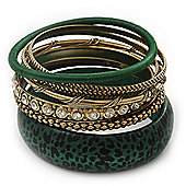 Antique Gold Metal & Dark Green Animal Print Wood Bangle Set of 7 - 18cm Length