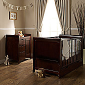 Obaby Lincoln Cotbed/Drawer/Changer/Sprung Mattress - Walnut