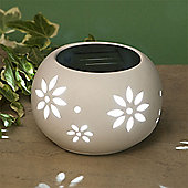 Garden Glows Solar Powered Oval White Ceramic Garden & Table Light