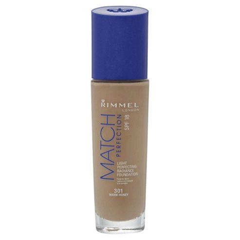 Rimmel London Match Perfection Light Perfecting Radiance Foundation SPF 18 301 Warm Honey 30ml