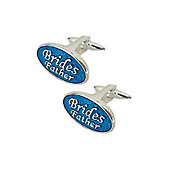 Blue Enamel Brides Father Wedding Cufflinks