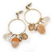 Vintage Inspired Glass Bead, Freshwater Pearl, Beige Quartz Stone Hoop Earrings In Gold Plating - 65mm Length