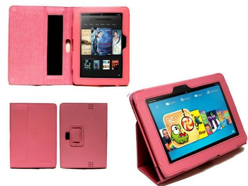 Navitech Pink Faux Leather Case With Flip Stand & Hand Strap For The Kindle Fire HD 7 inch