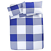Tesco Oversize Check Duvet Set , - Blue